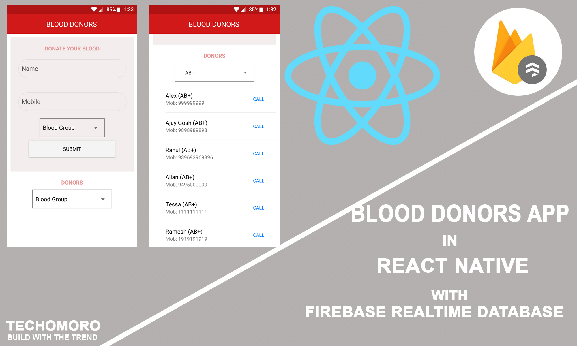 How to Create a Simple Blood Donors App in React Native with Firebase Realtime Database